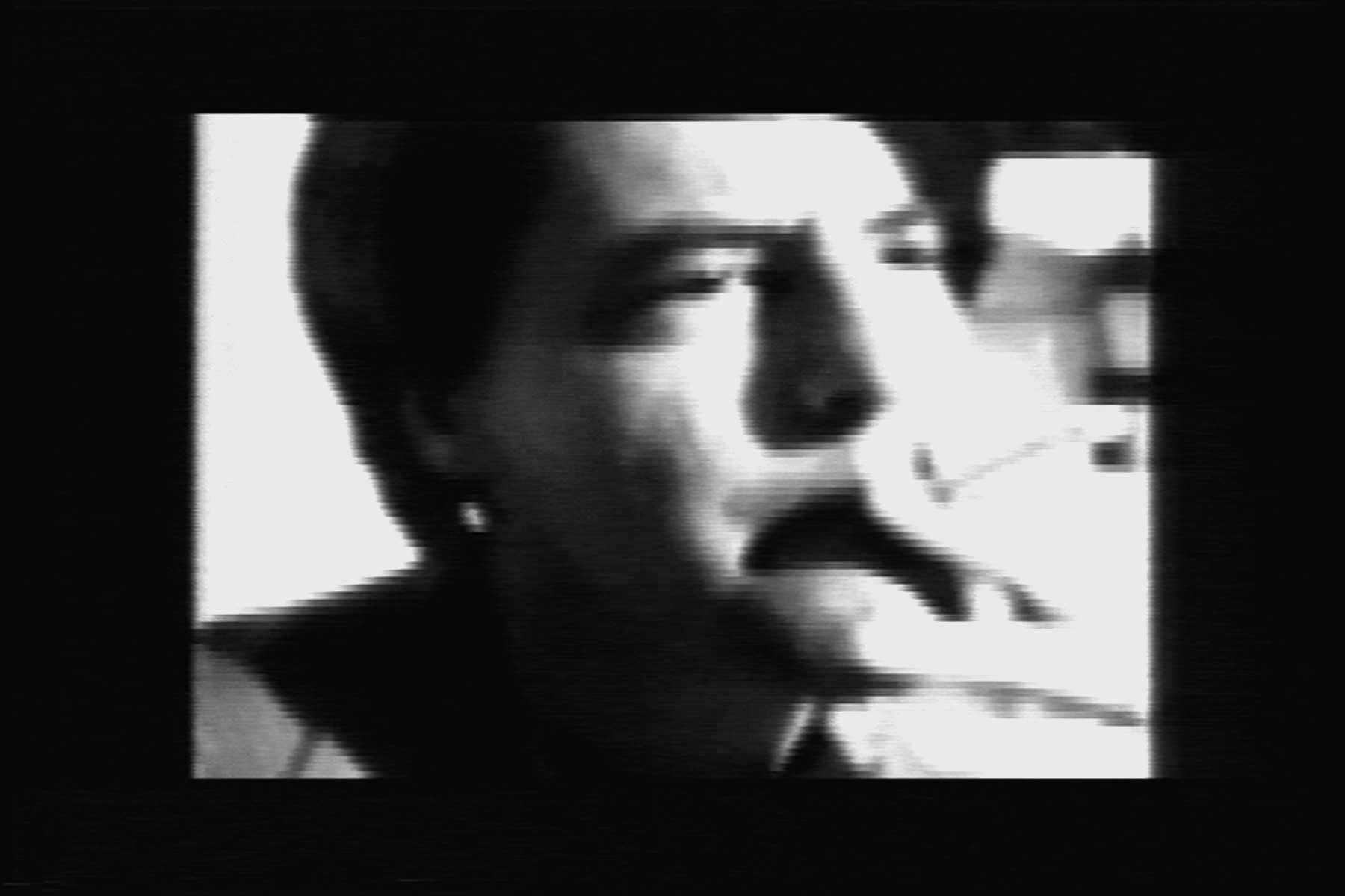 Video still from Joe-Joe (1993), co-produced with Leslie Singer, featuring writer Kevin Killian