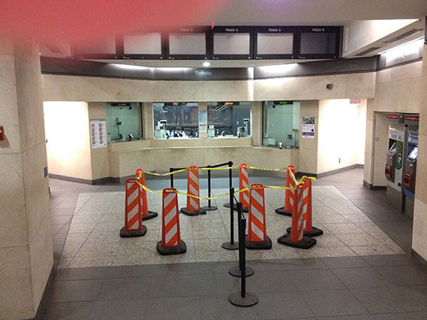 blocked off section at Atlantic Terminal