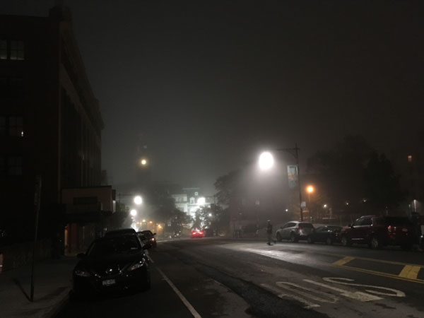 Staten Island Borough Hall in the fog