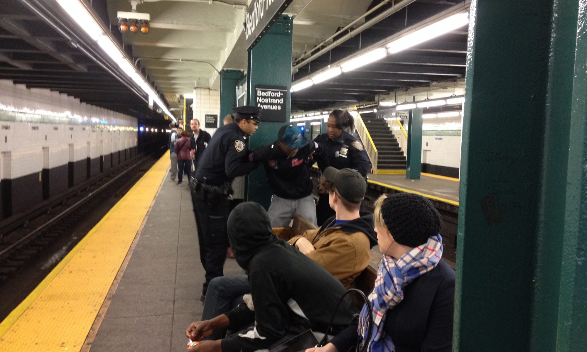 peron being arrested on g-train platform at Bedford-Nostrand Aves, Bklyn