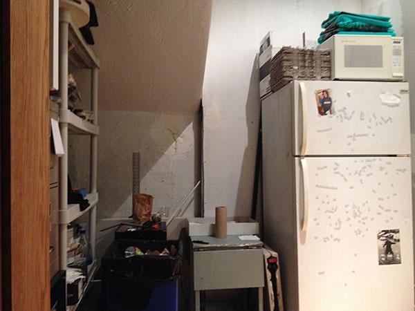 interior shot - fridge and shelves, tables