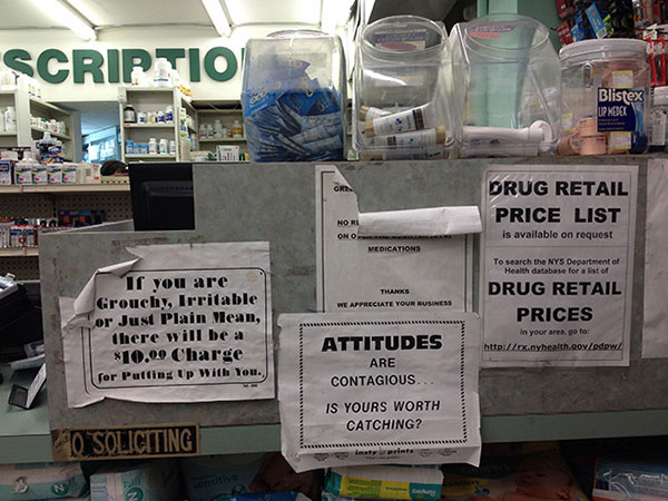 signs on pharmacy counter