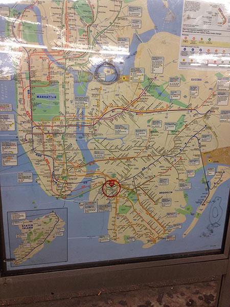 subway map with Riker's Island circled