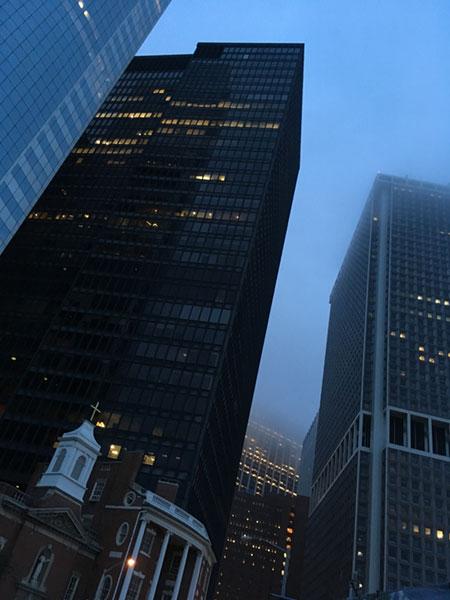 Foggy evening, lower Manhattan