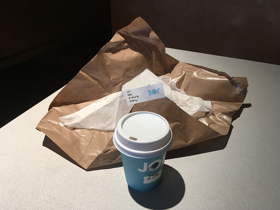 sandwich and coffee at Columbia University