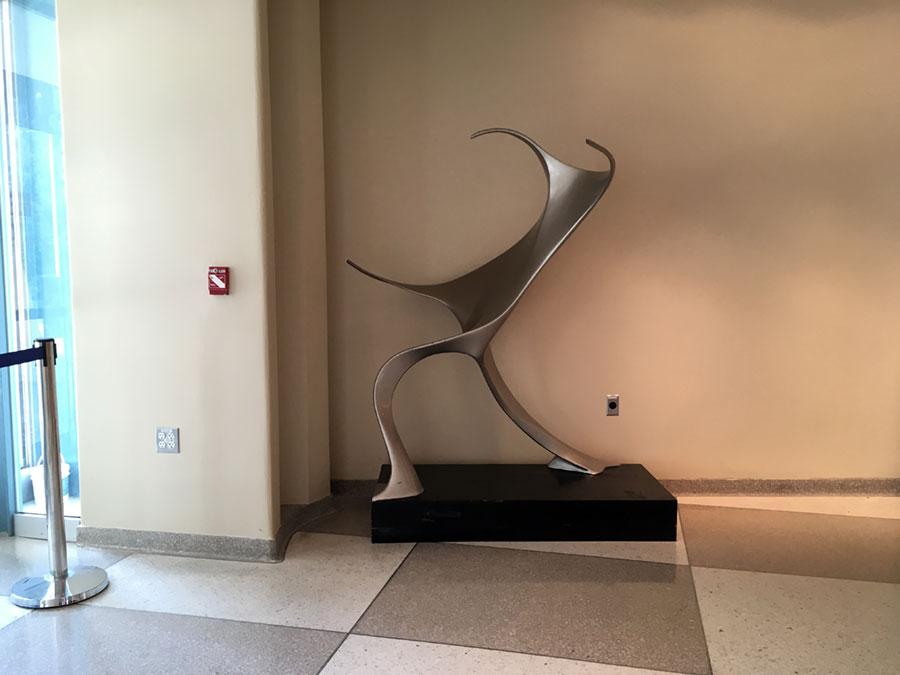 sculpture at the UN General Assembly buildilng