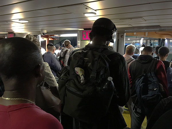 Passengers waiting to exit the ferry